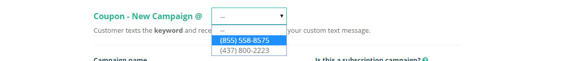 select campaign number to send the vote message