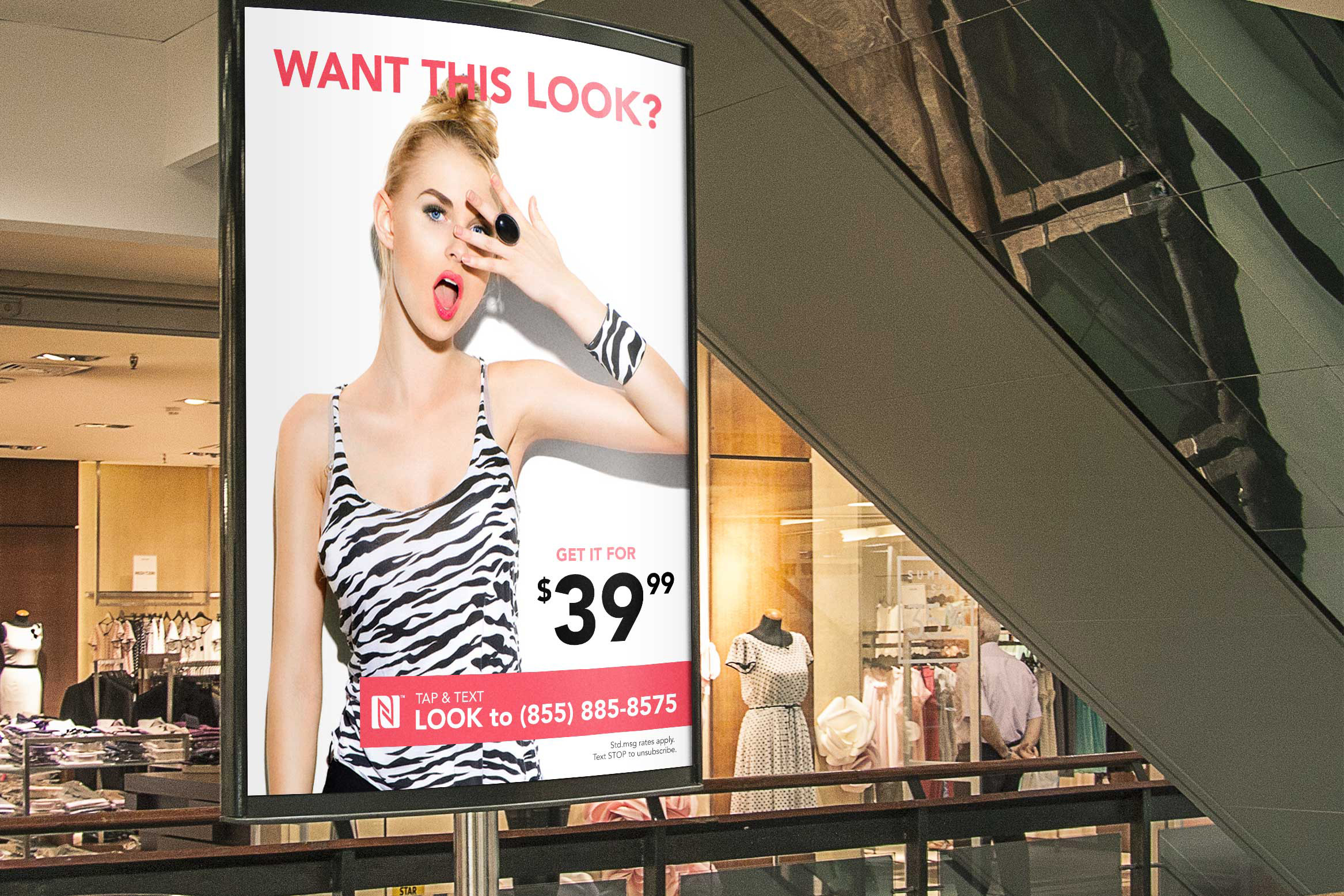 indoor advertising banner with fashion ad illustrated on it